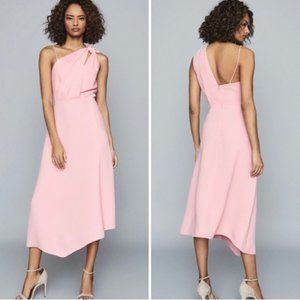 NWT Reiss Delilah One Shoulder Midi Dress in Pink